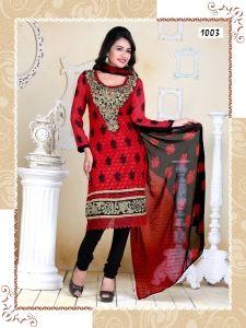 Apsara Chiffon Salwar Kammez(Red & Black)