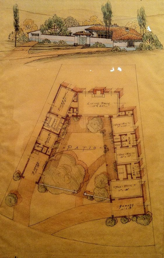 Courtyard Plan By Cliff May Ca 1933 Art Architecture