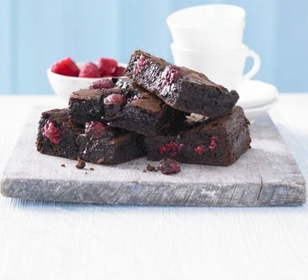 Chocolate Raspberry Brownies:     Squidgy and super moreish, these gorgeous foolproof fruity chocolate bakes will be snapped up in seconds.    via: www.bbcgoodfood.com  www.myrealhealth.com