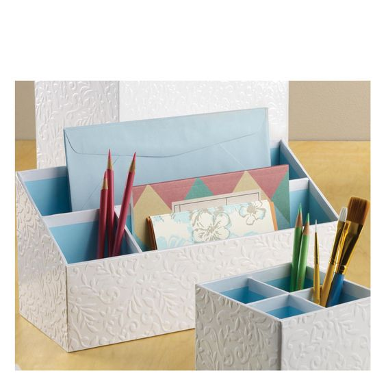 Give a delicate look to your office with this floral pattern embossed and earth-friendly organizer. $11.00 #homeoffice