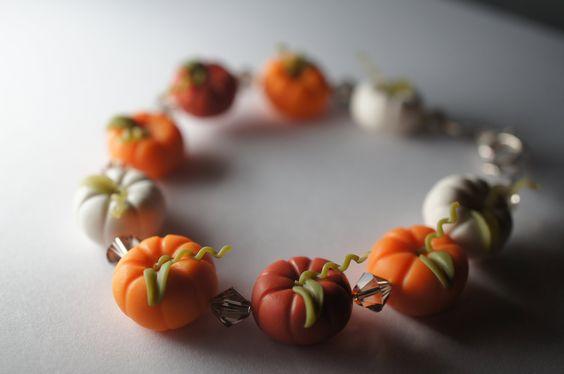 Pumpkin Halloween Bracelet, Miniature Food Jewelry, Polymer Clay Food Bracelet. $38.00, via Etsy.