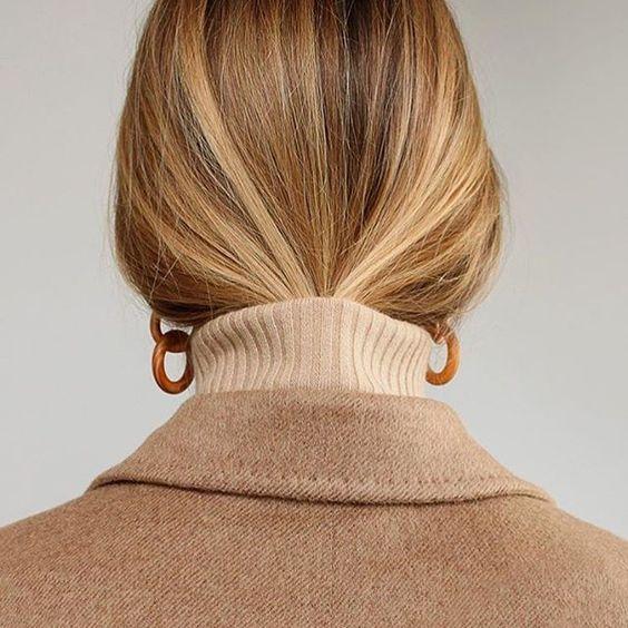 camel coat & turtle neck top
