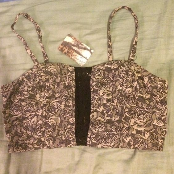 Urban outfitters zipper bralette never worn Grey with a rose pattern and black lace in the front middle. Pins & Needles Intimates & Sleepwear Bandeaus