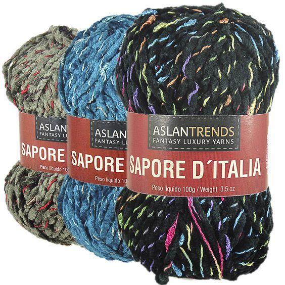 Lã Aslan Sapore D`Italia - 100g  Agulhas Recomendadas: Tricô 7 a 8 Crochê 5 a 6.  Composiçao:70% Acrilico 30% Viscose.  Peso Liquido: 100g = 70m