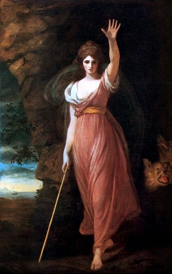 "Circe is a minor goddess of magic (or sometimes a nymph, witch, enchantress or sorceress), described in Homer's Odyssey as ""The loveliest of all immortals"". Having murdered her husband, the prince of Colchis, she was expelled by her subjects and placed by her father on the solitary island of Aeaea.  (art: Lady Hamilton as Circe by George Romney)"