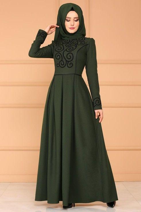 Elbise Flok Baskili Pileli Elbise Asm2120 Haki Muslim Fashion Dress Muslimah Fashion Hijab Fashion