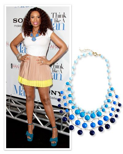I love the idea of a statement necklace against a white tshirt.