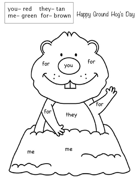 Ground Hogs day Color by sight word .pdf: