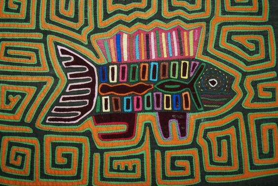 1970 Old Kuna Abstract Traditional Mola Hand stitched Applique Art fish Maze 95B