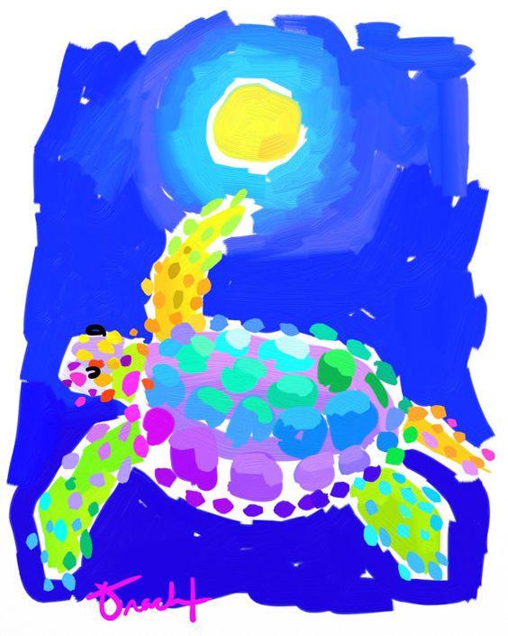 Art Print 8.5x11 tortue pleine lune bleu Aqua jaune par l