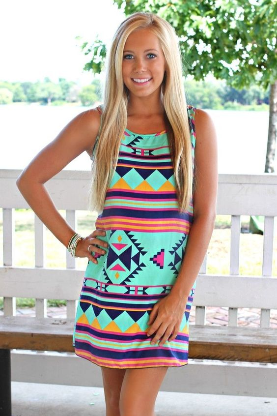 Neon summer mini dress | dressy | Pinterest | Tribal dress, Summer ...