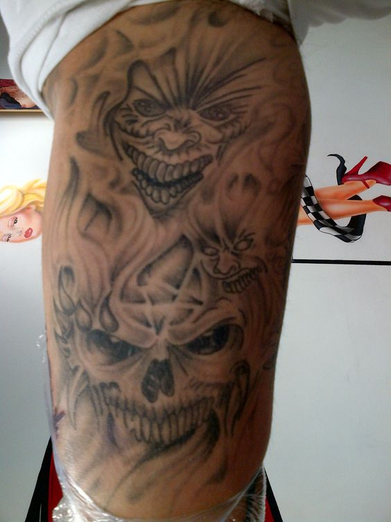 Horror Inner Arm Tattoo Finished Shading Dark Evil Faces Scary Tattoo S Done At Sin On Skin