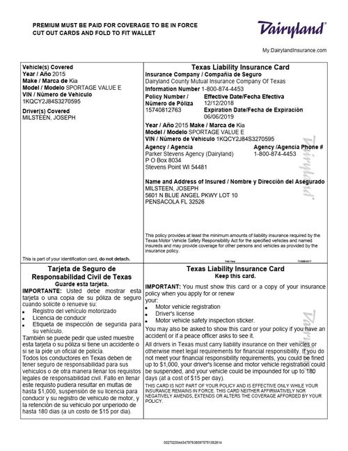 Identification Page 1 Document Store Car Insurance