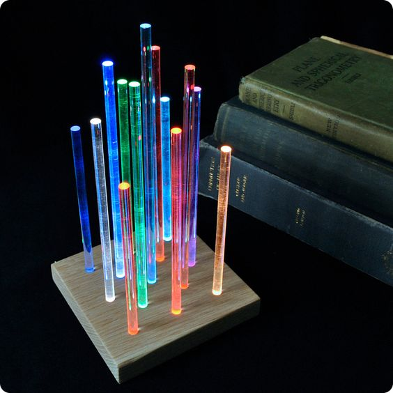 Metropolis - Glowing Night Light - Rainbow Fading Colors - Solid Red Oak. $75.00, via Etsy.