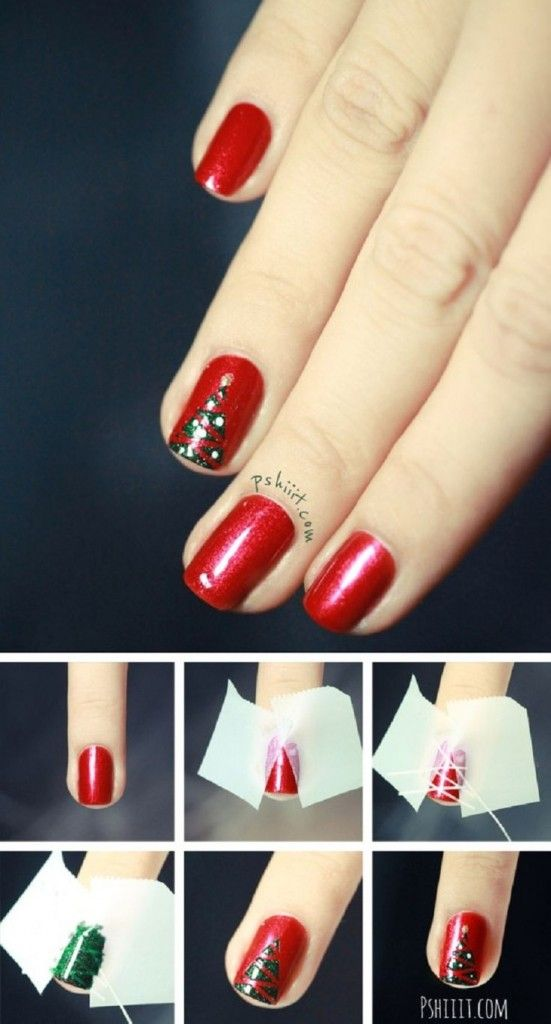 Easy Christmas Tree Nail Art Designs Step By Step At Home Christmas Nails Diy Christmas Nails Holiday Nails