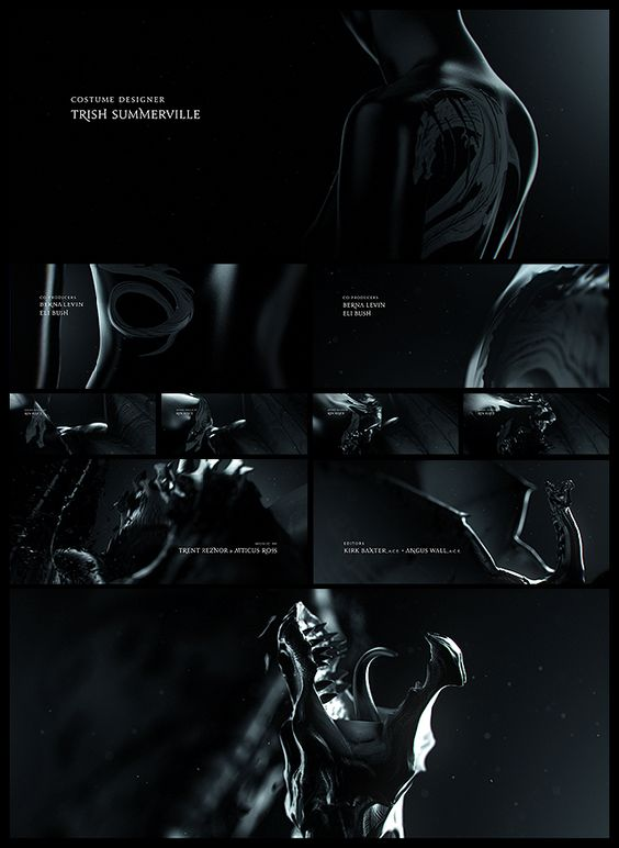 Concept boards for end titles: Girl with the Dragon Tattoo. (artofthetitle.com)