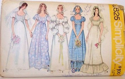 Simplicity 9825 Vintage 70's Sewing Pattern Wedding Prom Formal Dress Empire Waist and Puff Sleeves | Flickr - Photo Sharing!