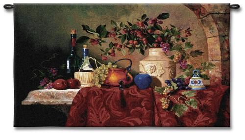 Tavola Decapris Still Life Wall Tapestry - Fruits And Wine Picture, 53in X 36in