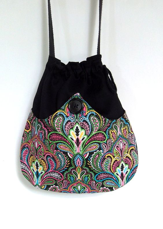 Turquoise Paisley Boho Bag  Paisley Drawstring Bag  Cotton Bag  Bohemian Bag  Crossbody Purse I bought this bag.  Can't wait to see it!!