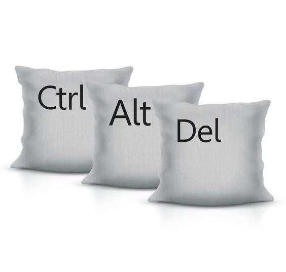 Almofadas Ctrl+Alt+Del (Kit com as três almofadas)!