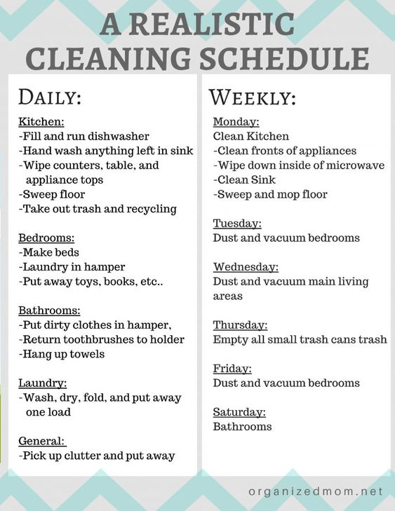 A Realistic Cleaning Schedule You Can Stick With - The Organized Mom