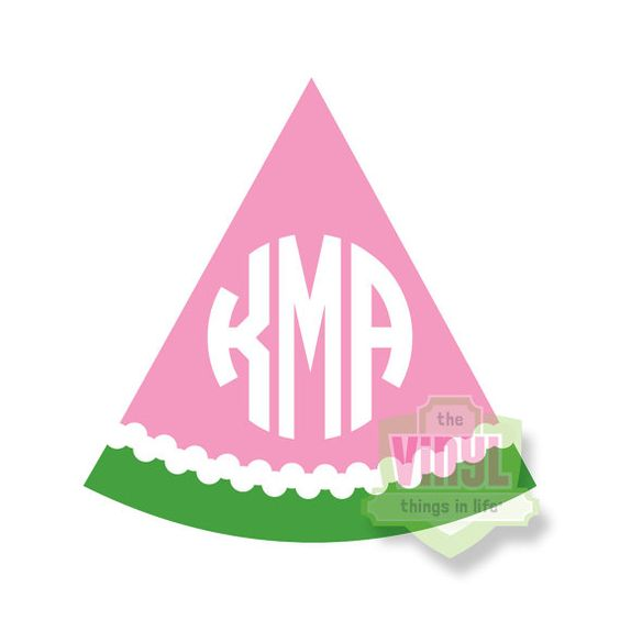 Watermelon monogram, Monogram sticker, Monogram decal, Car