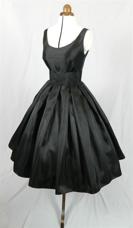 A Gorgeous Black Shantung 50s cocktail dress fully by elegance50s ...