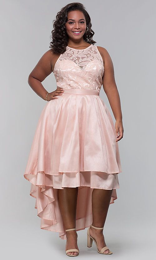 High-Low Plus-Size Wedding Guest Dress with Lace | Plus size ...