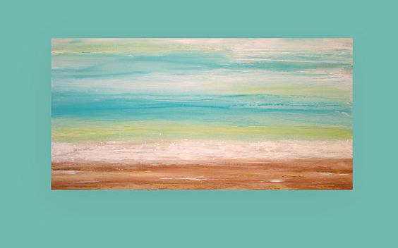 """Art & Collectibles, Large Acrylic Abstract Ocean Shabby Chic Painting Fine Art on Canvas Titled: Tropical Breeze 30x60x1.5"""" by Ora Birenbaum"""