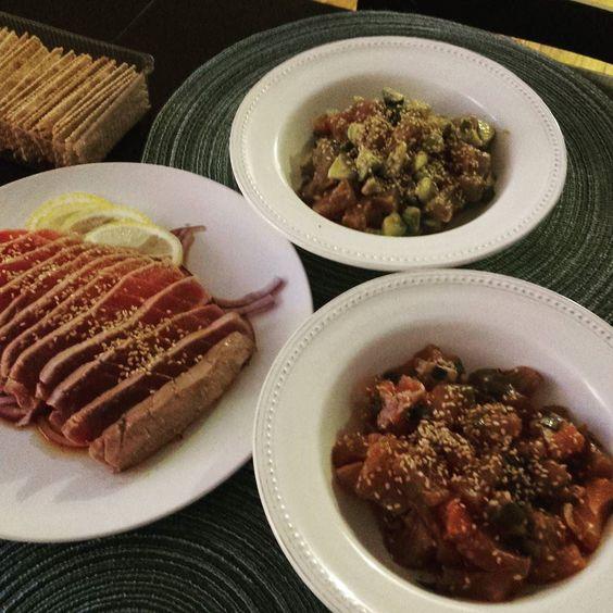 Today's #dinner #tuna#poke#tataki#avocadopoke #trimarine#thetunastore#ulttuna#awesome by juyeontucker
