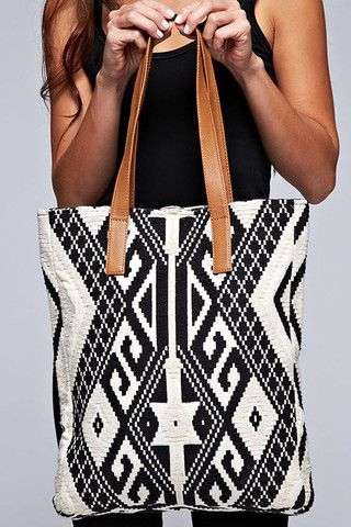 Textured Aztec Print Tapestry Tote: