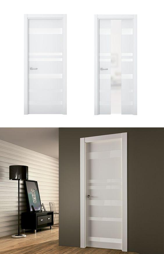 Puerta de interior blanca modelo nike de la serie imagin - Puertas lacadas blancas ...