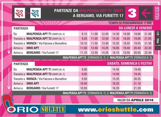 New timetable Line 3 Malpensa > Monza > Orio al Serio APT/Bergamo (from 1st April 2014)