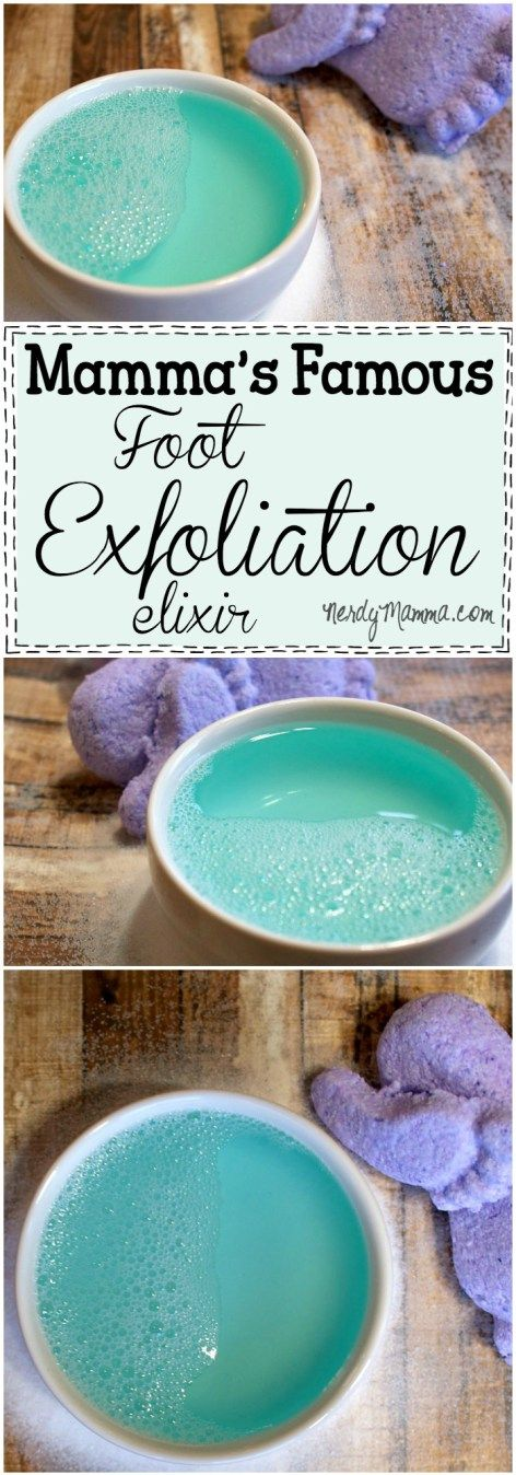 This is such an awesome recipe for an easy way to remove dead skin from your feet. I LOVE it. Mamma's Famous Foot Exfoliation Elixir. So silly, but it really works