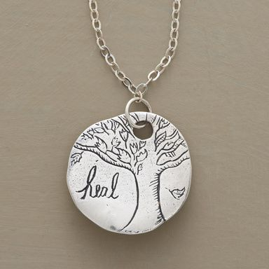 """VALIANT NECKLACE--Jes MaHarry's oak tree amulet promotes strength of mind with """"heal"""" inscribed on the front, """"Be brave and have courage,"""" on the back. Sterling silver with lobster clasp. Handmade in USA. 18""""L."""