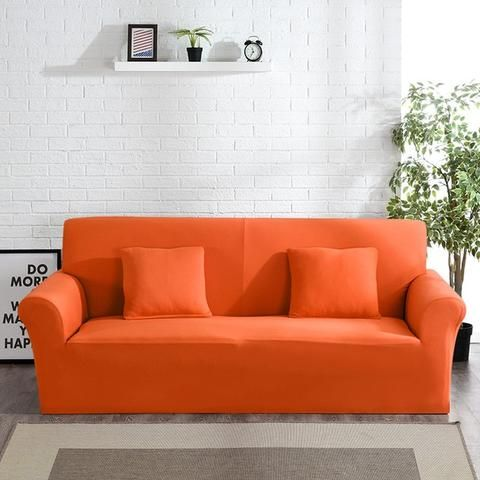 Solid Sofa Cover Classic Fitness In 2020 Sofa Covers Orange Sofa Modern Sofa Living Room
