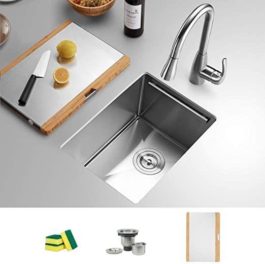 Torva 14 Inch Workstation Undermount Kitchen Sink 16 Gauge Stainless Steel Single Bowl Bar Or Prep Sink With Stainless In 2020 Undermount Kitchen Sinks Sink Prep Sink