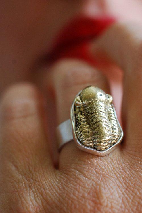 Anneau de Trilobite chanceux par dollybirddesign sur Etsy