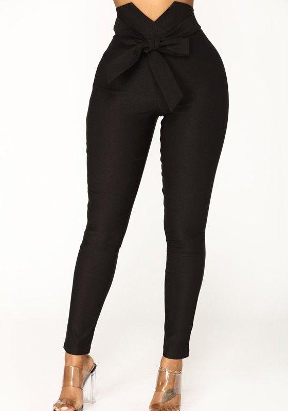 Black Sashes High Waisted Fashion Long Pants Pantalon