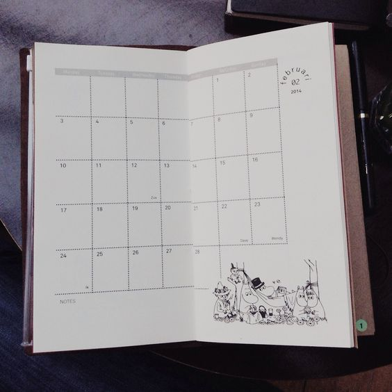 I made this Midori insert, it's a monthly calender for 2014 with my favorite Moomin images