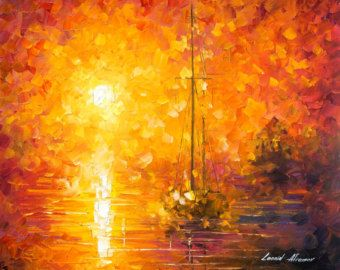 Misty Calm PALETTE KNIFE Seascape by AfremovArtStudio on Etsy