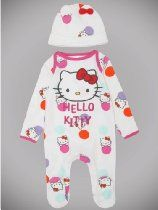 Newborn Baby Girl Hello Kitty Character Polka Dot Long Sleeve Sleepsuit And Hat Set