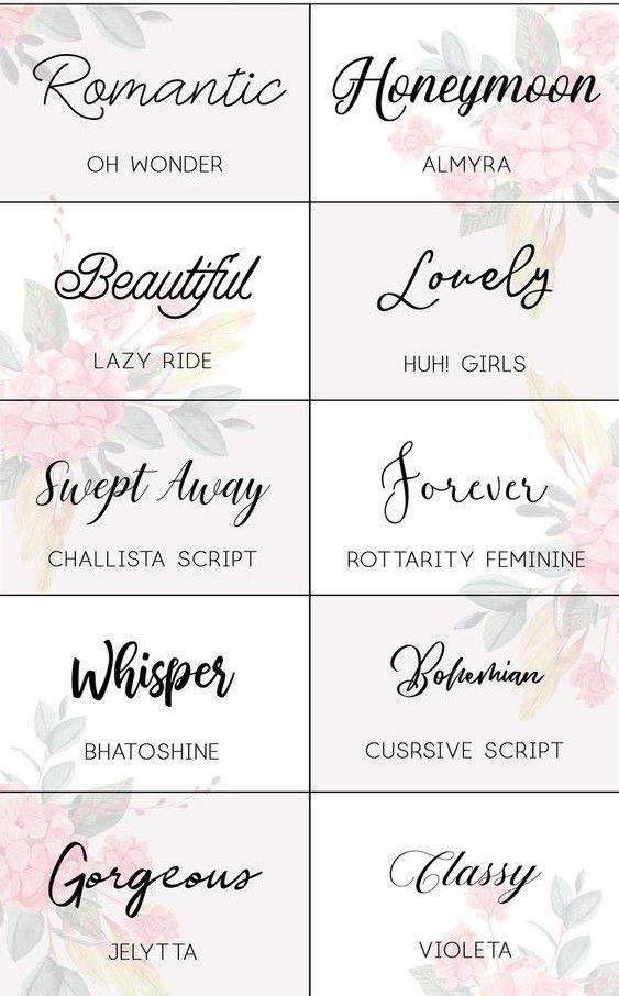 Romantic Wedding Fonts Infographics Tattoo Writing Fonts Romantic Fonts Different Writing Fonts