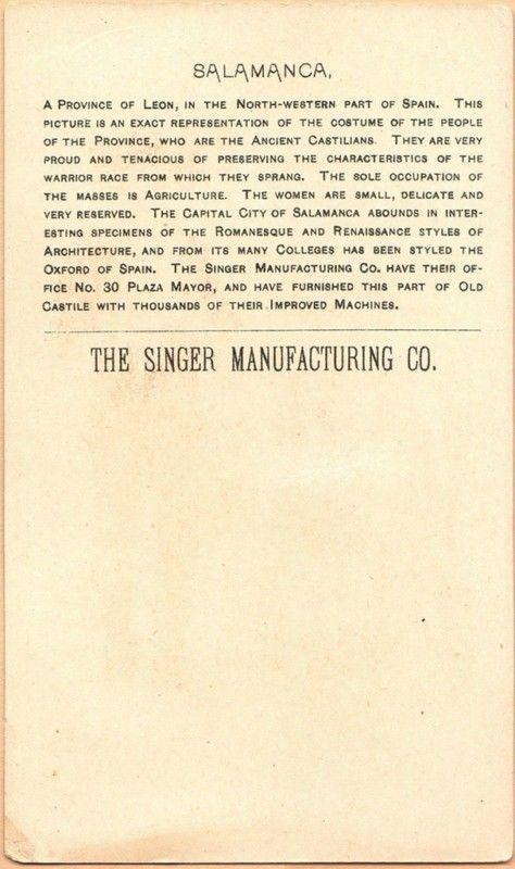Singer Sewing Machine's World, 1892, Spain Salamanca Trade Card
