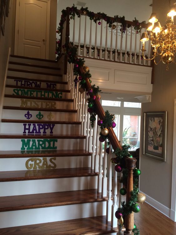 I used the garland at Christmas and just switched out the red ornaments for purple ones. My talented niece hand-made the letters!