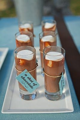Homemade hot chocolate shots (made from scratch - no alcohol; although a little Kaluha might taste pretty good!) Might be cool to have some sort of shot glass as a party favor with a shot of something delicious in it :)