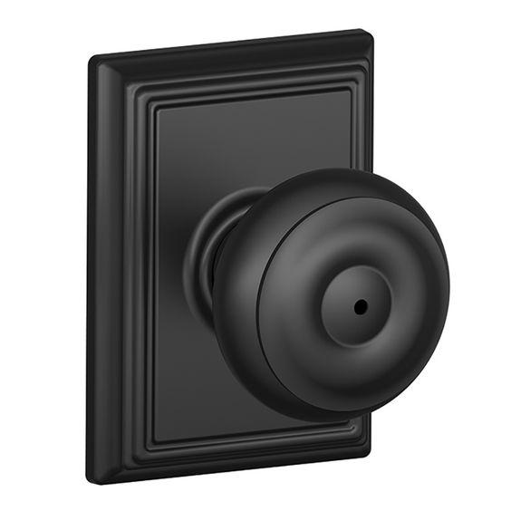 Shop Schlage F Decorative Addison Collections Georgian Matte Black Round Push-Button Lock Privacy Door Knob at Lowes.com