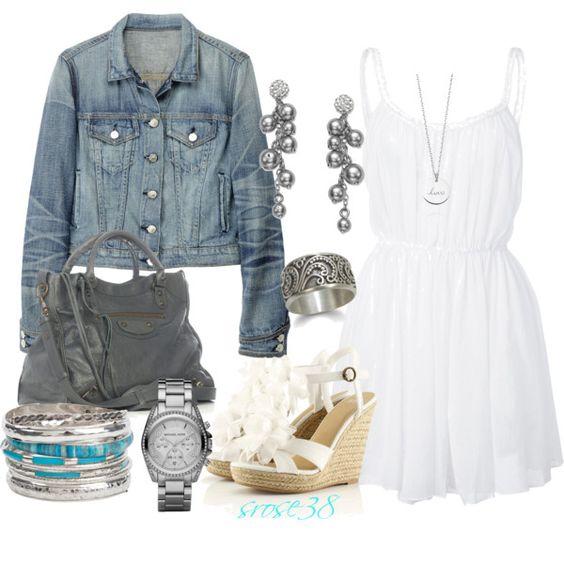 Jean Jacket and White Sundress :)