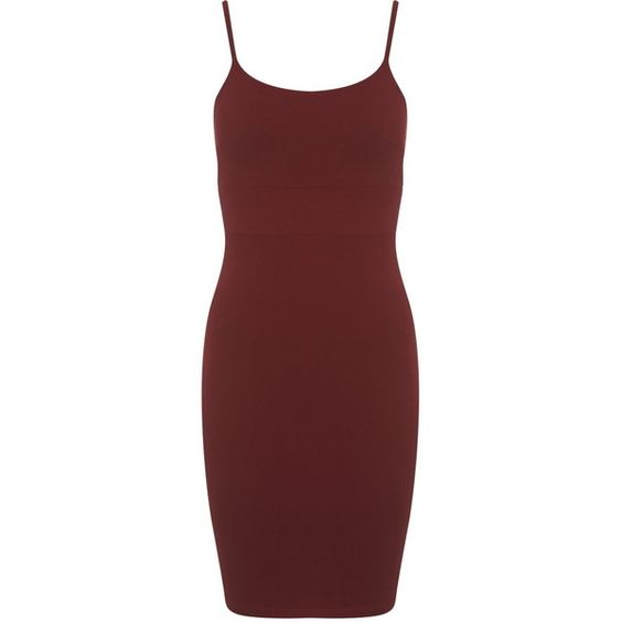Miss Selfridge Burgundy Strappy Dress (€11) ❤ liked on Polyvore featuring dresses, short dresses, red, vestidos, burgundy, cotton dress, burgundy red dress, red cotton dress, short burgundy dress and short red dress