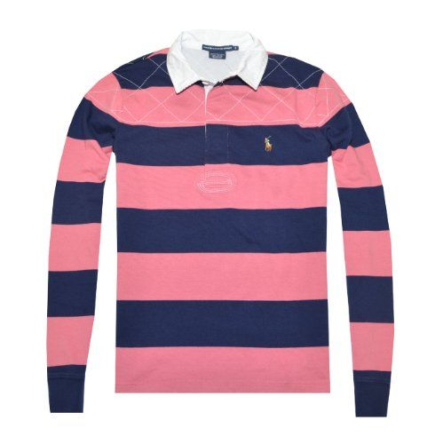 Ralph Lauren Sport Women Striped Long Sleeve Pony Logo Rugby Polo T-shirt
